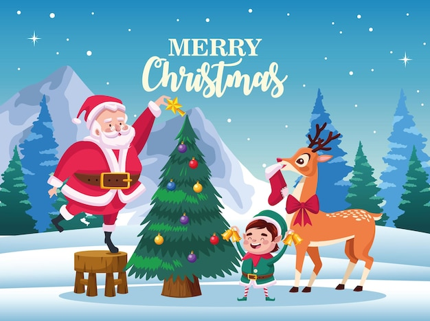 Cute santa claus with elf and deer decorating christmas tree scene illustration