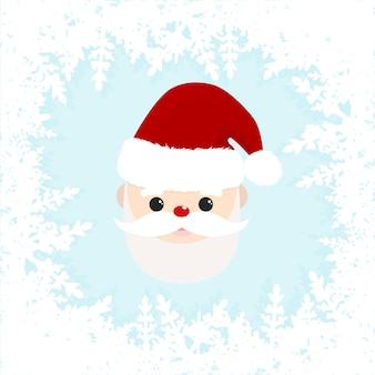 Cute santa claus with frame from snowflakes