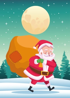 밤 장면 그림에서 선물 가방 귀여운 산타 클로스