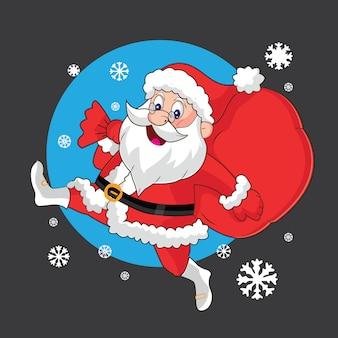 Cute santa claus with a gift bag