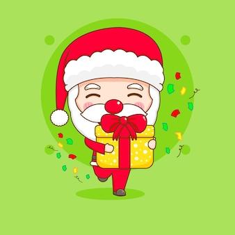Cute santa claus with gift box chibi cartoon character