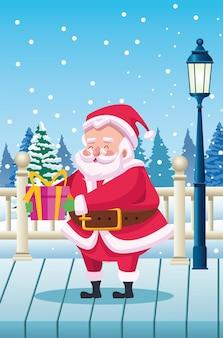 Милый санта-клаус с подарком на иллюстрации сцены снежного пейзажа