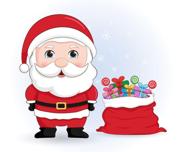 Милый дед мороз с подарками в красной сумке