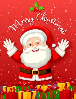 Cute santa claus with many presents or gift boxes