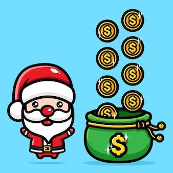 돈 가방과 함께 귀여운 산타 클로스