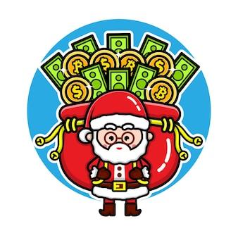 Cute santa claus with money bug cartoon character design