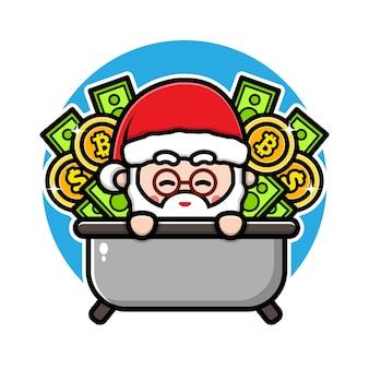 Cute santa claus with money cartoon character design