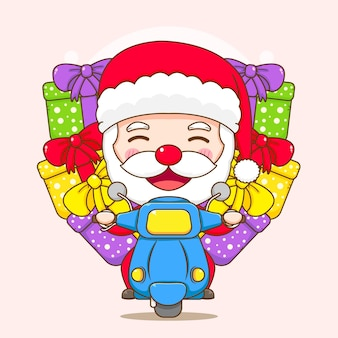 Cute santa claus with motorcycle delivering gift box chibi cartoon character