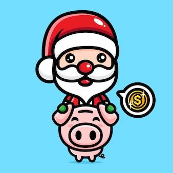돼지 저금통과 귀여운 산타 클로스