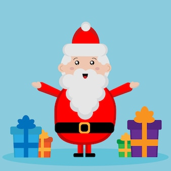 Cute santa claus with presents for kids
