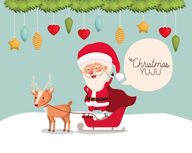 Cute santa claus with reindeer character