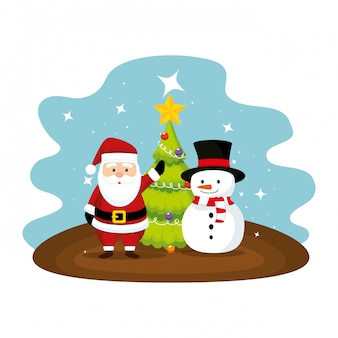 Cute santa claus with snowman character