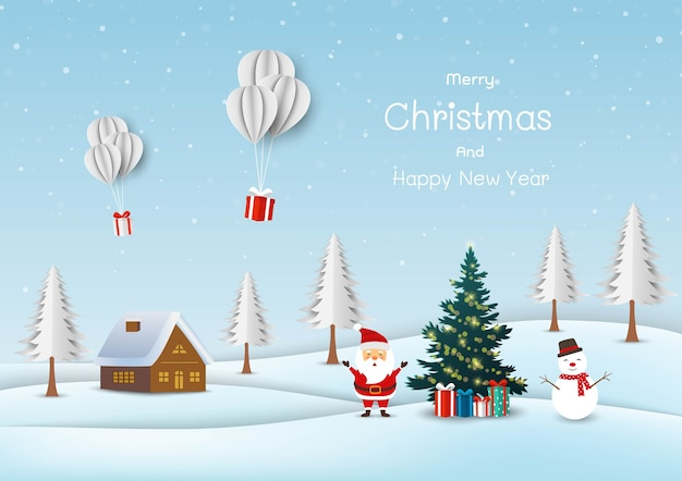 Cute santa claus with snowman happy on snow village background