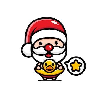 Cute santa claus with swimming duck balloon