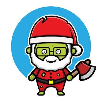 Cute santa claus zombie cartoon character