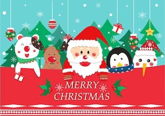 Cute Santa clause and friend cartoon vector