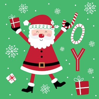 Cute santa clause on decorative text holly jolly design with red and green color