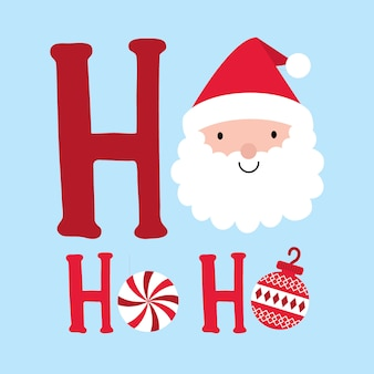 Cute santa clause with decorative text ho ho ho