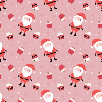 Cute santa and cupcake in christmas theme seamless pattern