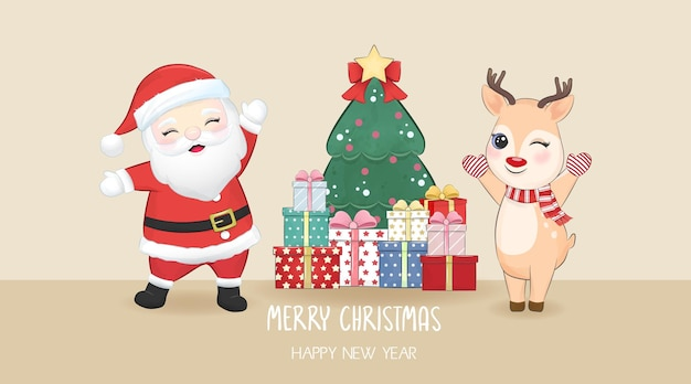 Cute santa and deer with gift box christmas and new year illustration