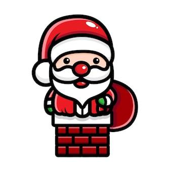 굴뚝에 갇힌 귀여운 산타 디자인