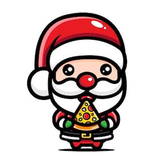 귀여운 산타는 피자를 먹는 것을 즐긴다