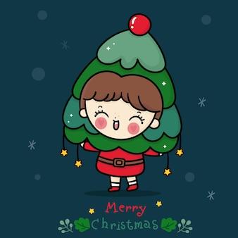 크리스마스 트리 귀여운 멋진 드레스와 귀여운 산타 소녀 만화