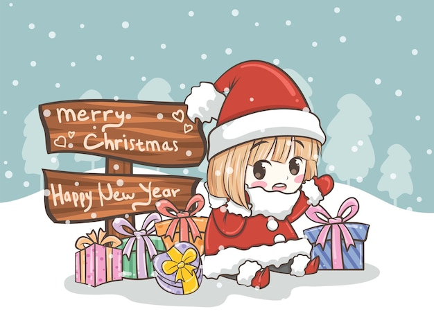선물로 인사하는 귀여운 산타 소녀