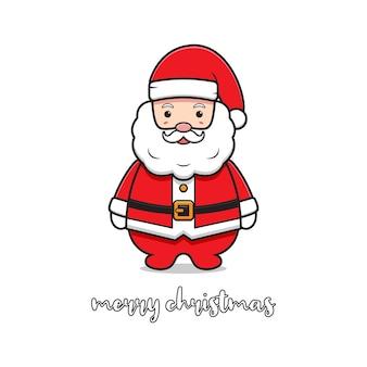 Cute santa greeting merry christmas cartoon doodle card background illustration