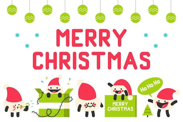 귀여운 산타 모자 문자 만화 세트 흰색 배경에 고립.