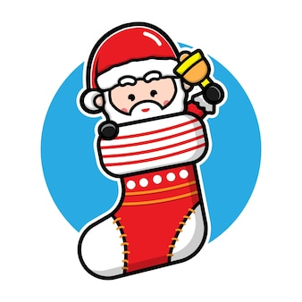 Милый санта в носке мультфильм вектор рождество концепция иллюстрации