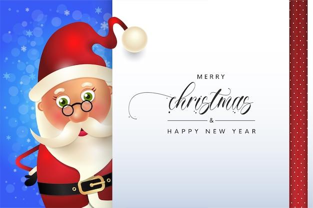 Милый санта с рождеством христовым приветствие зимняя открытка