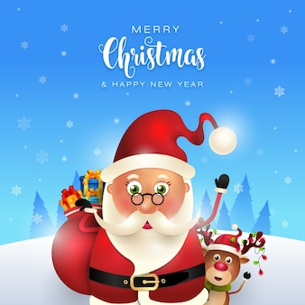 귀여운 산타 메리 크리스마스 인사말