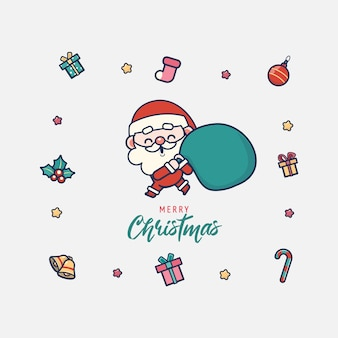 Cute santa merry christmas illustration