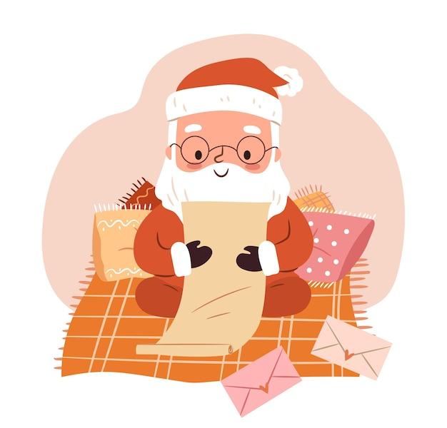 Милый санта читает рождественские письма клаус сидит на одеяле с подушками и читает детскую почту