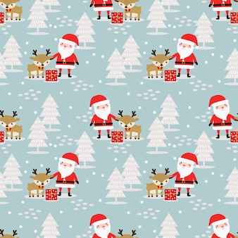 Cute santa  and reindeer in christmas winter theme seamless pattern