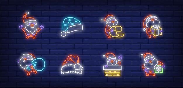 Cute santa symbols set in neon style