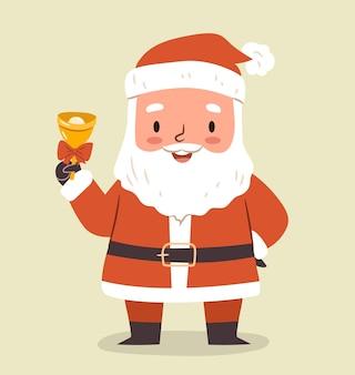 Милый санта с колокольчиком. плоский векторный характер для открытки с рождеством, дизайн поздравительной открытки.