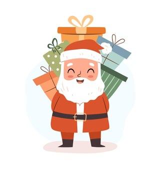 Милый санта с кучей рождественских подарков плоский векторный характер для поздравительной открытки с рождеством
