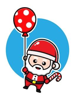 Милый санта с воздушным шаром мультяшный вектор рождественская концепция иллюстрации premium векторы