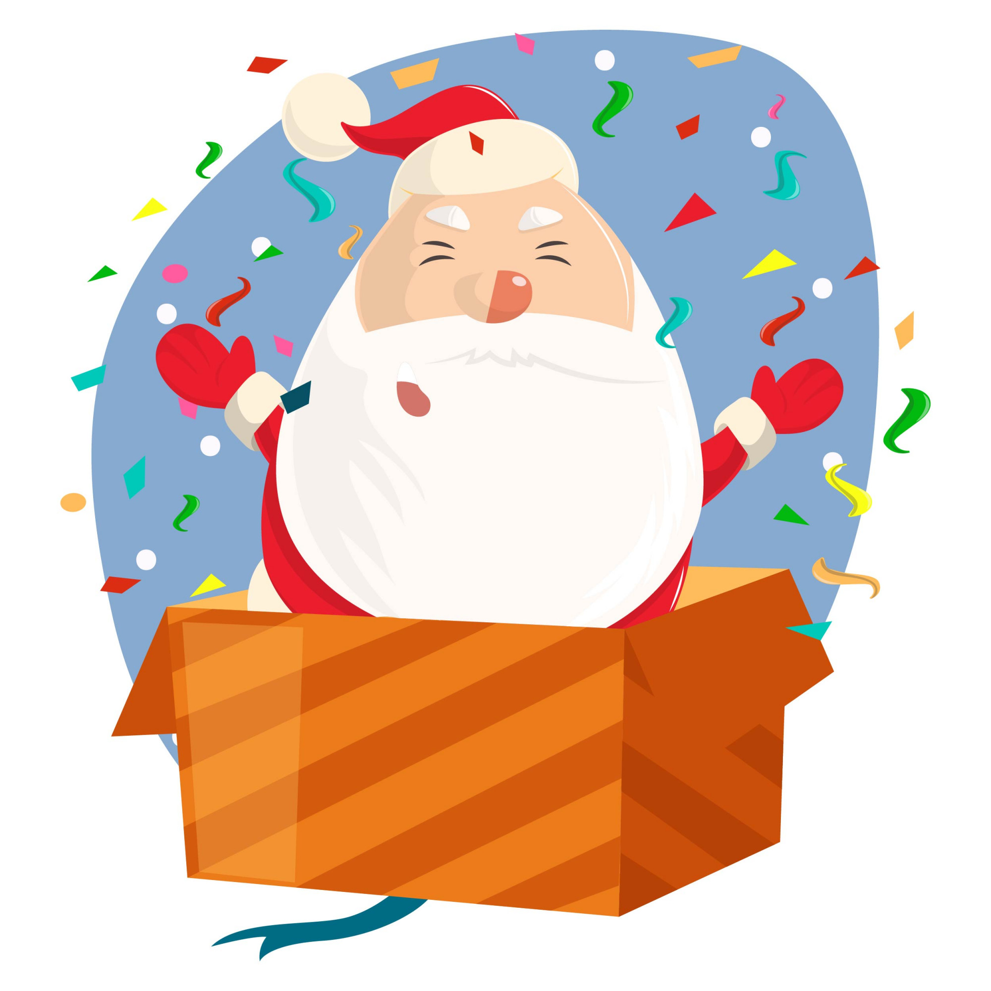 Cute Santa with opened hands standing in gift box.