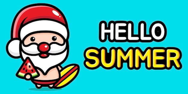 여름 인사말 배너와 함께 귀여운 산타