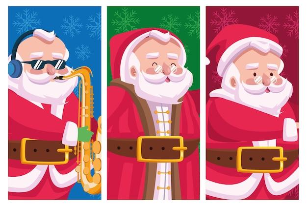 Симпатичные santas group комические персонажи шаблоны иллюстрации