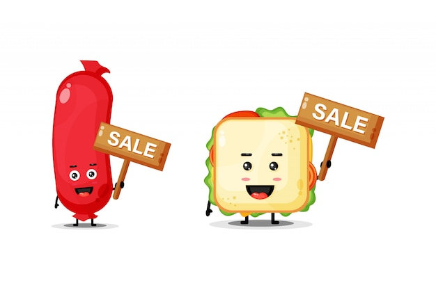 Cute sausage and mascot sandwich with the sales sign