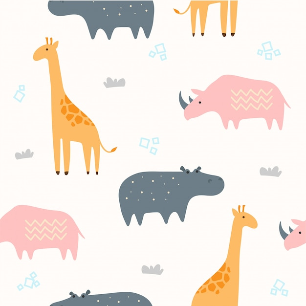 Cute savannah animal seamless pattern for wallpaper