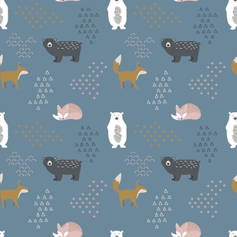 Cute scandinavian animals seamless pattern