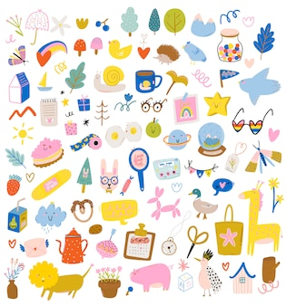Cute scandinavian characters set including trendy quotes and cool decorative hand drawn elements.