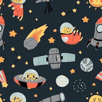 Cute scandinavian colorful space pattern with adorable cat illustration