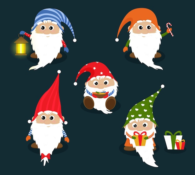 Cute scandinavian gnomes in christmas