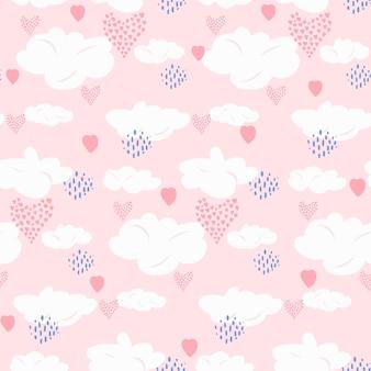 Симпатичный скандинавский бесшовный узор с белыми облаками, розовыми сердечками и темно-синими точками на коралловом небе